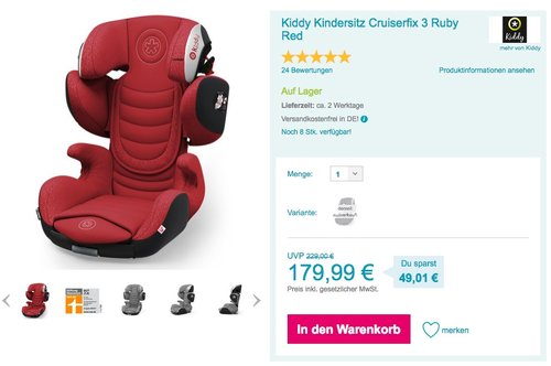 Kiddy Kindersitz Cruiserfix 3 Ruby Red - jetzt 16% billiger