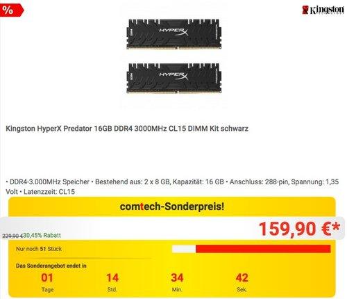 Kingston HyperX Predator 16GB DDR4 3000MHz CL15 DIMM Kit - jetzt 18% billiger
