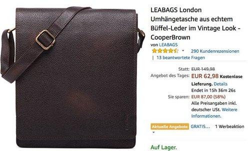 LEABAGS London Umhängetasche aus echtem Büffel-Leder im Vintage Look - jetzt 43% billiger