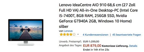 Lenovo IdeaCentre AIO 910 68,6 cm (27 Zoll Full HD VA) All-in-One Desktop-PC (Intel Core i5-7400T, 8GB RAM, 256GB SSD, Nvidia GeForce GT940A 2GB, Windows 10 Home) silber - jetzt 12% billiger