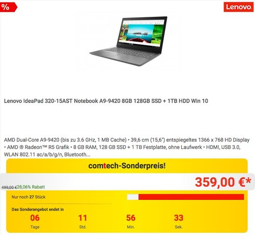Lenovo IdeaPad 320-15AST Notebook 15,6 Zoll HD A9-9420 8GB 128GB SSD Win 10 - jetzt 28% billiger