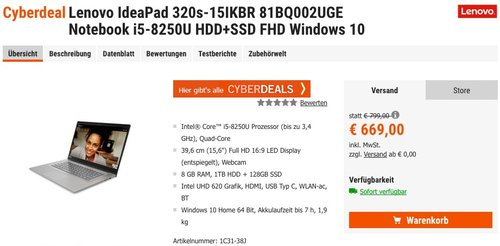 Lenovo IdeaPad 320s-15IKBR Notebook i5-8250U HDD+SSD FHD Windows 10 - jetzt 12% billiger