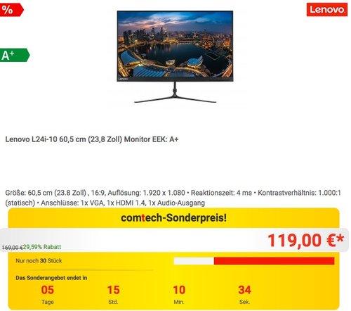 Lenovo L24i-10 60,5 cm (23,8 Zoll) Monitor - jetzt 14% billiger