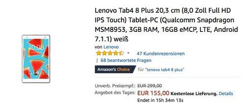 Lenovo Tab4 8 Plus 20,3 cm (8,0 Zoll Full HD IPS Touch) Tablet-PC - jetzt 29% billiger