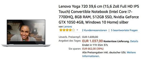 Lenovo Yoga 720 39,6 cm (15,6 Zoll Full HD IPS Touch) Convertible Notebook (Intel Core i7-7700HQ, 8GB RAM, 512GB SSD, Nvidia GeForce GTX 1050 4GB, Windows 10 Home) silber - jetzt 27% billiger