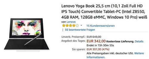 Lenovo Yoga Book 25,5 cm (10,1 Zoll Full HD IPS Touch) Convertible Tablet-PC - jetzt 14% billiger