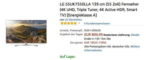 LG 55UK7550LLA 139 cm (55 Zoll) Fernseher (4K UHD, Triple Tuner, 4K Active HDR, Smart TV) - jetzt 15% billiger
