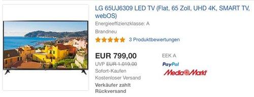 LG 65UJ6309 LED TV (Flat, 65 Zoll, UHD 4K, SMART TV, webOS) - jetzt 22% billiger