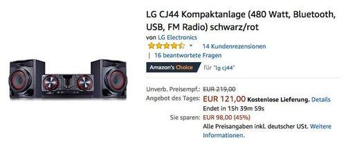 LG CJ44 Kompaktanlage - jetzt 34% billiger