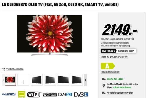 LG OLED65B7D OLED TV (Flat, 65 Zoll, OLED 4K, SMART TV, webOS) - jetzt 16% billiger