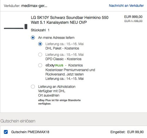 LG SK10Y Soundbar 550 Watt - jetzt 9% billiger