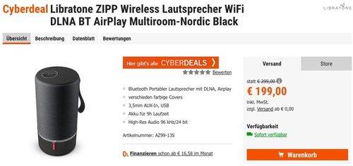 Libratone ZIPP Wireless Lautsprecher WiFi DLNA BT AirPlay Multiroom - jetzt 15% billiger