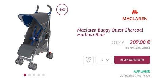 Maclaren Buggy Quest Charcoal Harbour Blue - jetzt 15% billiger