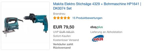 Makita Elektro Stichsäge 4329 + Bohrmaschine HP1641-DK0074 Set - jetzt 19% billiger