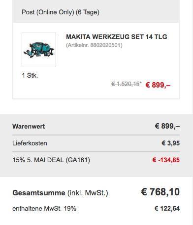 Makita Werkzeug Set 14 tlg - jetzt 15% billiger