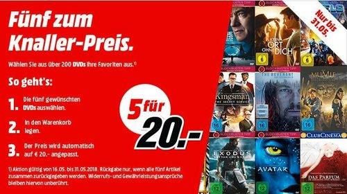 MediaMarkt Aktion: 5 DVDs für 20 EUR - jetzt 50% billiger
