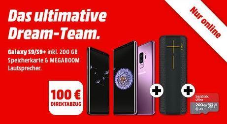 MediaMarkt Aktion: SAMSUNG Galaxy S9/S9+ inkl. 200 GB Speicherkarte & MEGABOOM Lautsprecher + 100€ Direktabzug - jetzt 9% billiger