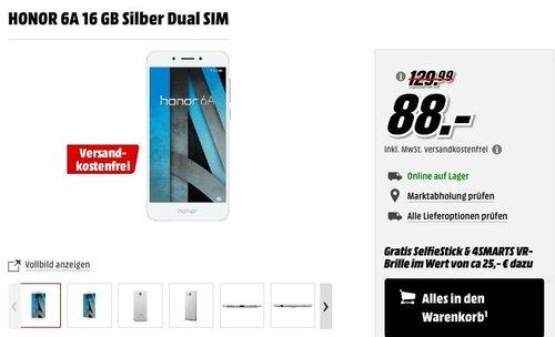 MediaMarkt Smartphone-Fieber - Aktion: HONOR 6A 16 GB Silber Dual SIM + SelfieStick & 4SMARTS VR-Brille - jetzt 22% billiger