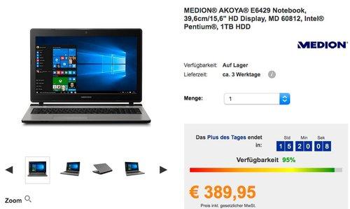 """MEDION® AKOYA® E6429 Notebook, 39,6cm/15,6"""" HD Display, MD 60812, Intel® Pentium®, 1TB HDD - jetzt 13% billiger"""