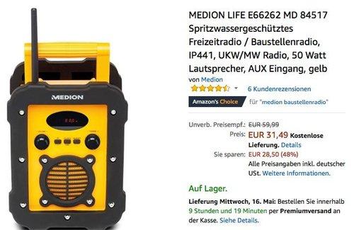 MEDION LIFE E66262 MD 84517 Spritzwassergeschütztes Freizeitradio / Baustellenradio gelb - jetzt 30% billiger