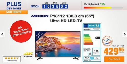 "MEDION® LIFE® P18112 Fernseher 138,8 cm (55"") Ultra HD - jetzt 19% billiger"