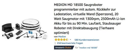 MEDION MD 18500 Staubsauger Roboter mit Direktabsaugung (Tierhaare optimiert) - jetzt 15% billiger