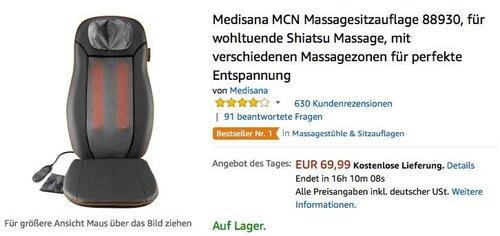 Medisana MCN Massagesitzauflage 88930 - jetzt 18% billiger