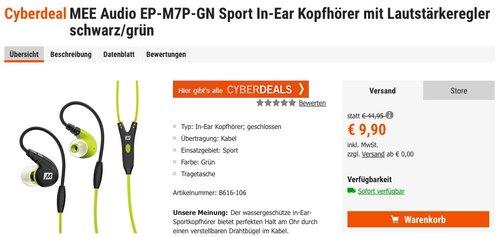 MEE Audio EP-M7P-GN Sport In-Ear Kopfhörer mit Lautstärkeregler schwarz/grün - jetzt 46% billiger