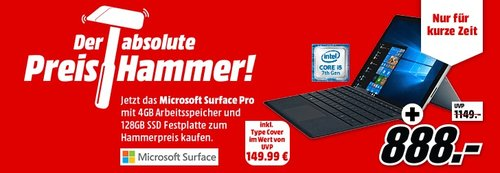 MICROSOFT Surface Pro Intel® Core™ i5, 128 GB SSD, 4 GB RAM, Windows 10 Professional inkl. Type Cover - jetzt 11% billiger