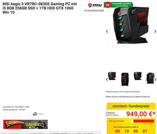 MSI Aegis 3 VR7RC-083DE Gaming PC mit i5 8GB 256GB SSD + 1TB HDD GTX 1060 Win 10 - jetzt 8% billiger
