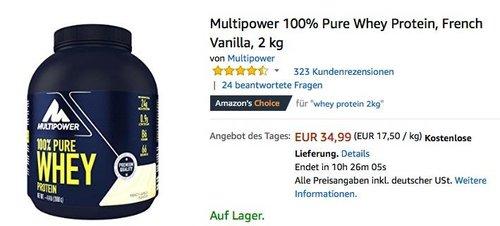 Multipower 100% Pure Whey Protein, French Vanilla, 2 kg - jetzt 23% billiger