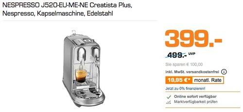 NESPRESSO J520-EU-ME-NE Creatista Plus Kapselmaschine - jetzt 15% billiger