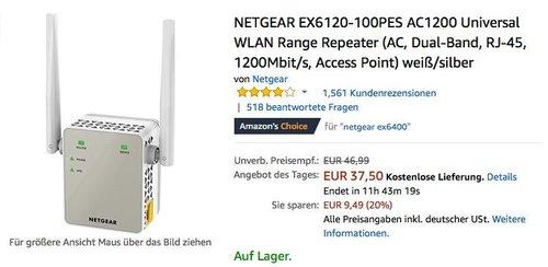 NETGEAR EX6120-100PES AC1200 Universal WLAN Range Repeater - jetzt 17% billiger