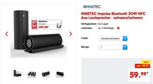 NINETEC Impulse Bluetooth 20W NFC Aux Lautsprecher - jetzt 33% billiger
