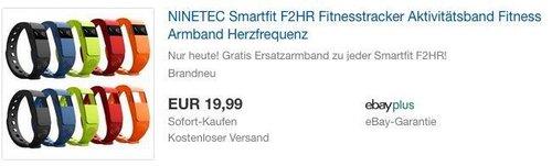 NINETEC Smartfit F2HR Fitnesstracker inkl. Gratis Ersatzarmband - jetzt 60% billiger