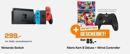 NINTENDO Switch Neon-Rot/Neon-Blau + Mario Kart 8 Deluxe + Wired Controller - jetzt 23% billiger