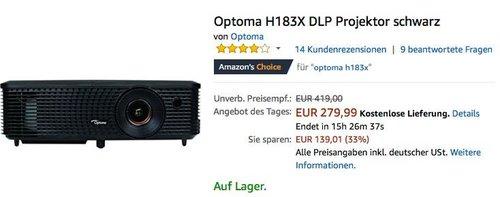 Optoma H183X DLP Projektor - jetzt 20% billiger
