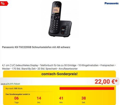 Panasonic KX-TGC220GB Schnurlostelefon mit AB - jetzt 17% billiger