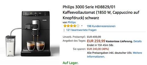 Philips 3000 Serie HD8829/01 Kaffeevollautomat - jetzt 22% billiger