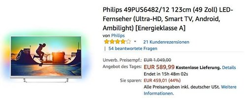 Philips 49PUS6482/12 123cm (49 Zoll) LED-Fernseher (Ultra-HD, Smart TV, Android, Ambilight) - jetzt 9% billiger