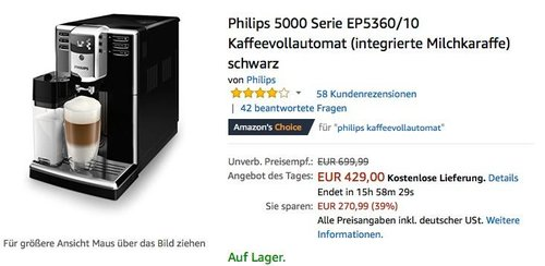 Philips 5000 Serie EP5360/10 Kaffeevollautomat (integrierte Milchkaraffe) schwarz - jetzt 10% billiger