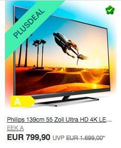 Philips 55PUS7502/12 139cm (55 Zoll) LED-Fernseher (Ultra-HD, Smart TV, Android, Ambilight) - jetzt 27% billiger