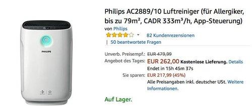 Philips AC2889/10 Luftreiniger - jetzt 28% billiger