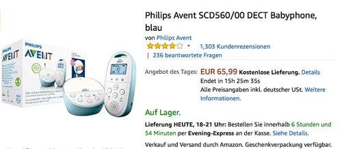 Philips Avent SCD560/00 DECT Babyphone, blau - jetzt 12% billiger