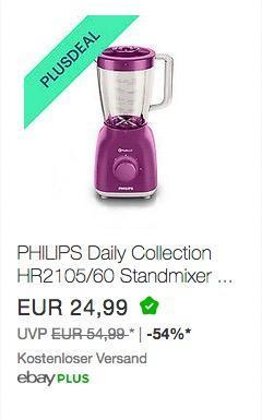 PHILIPS Daily Collection HR2105/60 Standmixer - jetzt 46% billiger