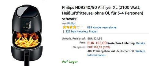 Philips HD9240/90 Airfryer XL - jetzt 14% billiger