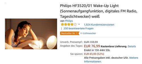 Philips HF3520/01 Wake-Up Light (digitales FM Radio, Tageslichtwecker) in Weiß - jetzt 16% billiger
