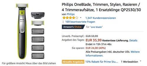 Philips OneBlade + 4 Trimmeraufsätze + 1 Ersatzklinge QP2530/30 - jetzt 16% billiger