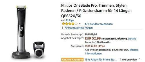 Philips OneBlade Pro QP6520/30, Trimmen, Stylen, Rasieren - jetzt 16% billiger