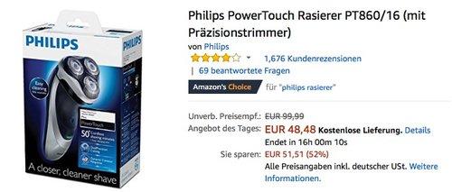 Philips PowerTouch Rasierer PT860-16 - jetzt 19% billiger